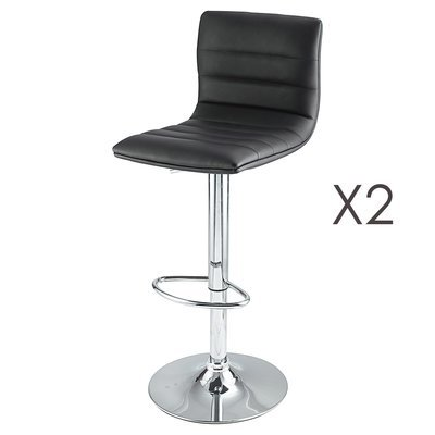 Lot de 2 tabourets de bar coloris noir - PORTIO