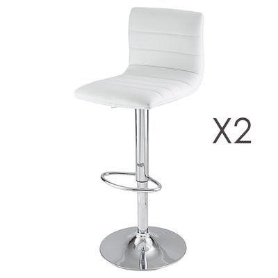 Lot de 2 tabourets de bar coloris blanc - PORTIO