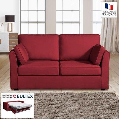 Canapé 2 places convertible matelas Bultex - 100% coton - griotte - CHARLES