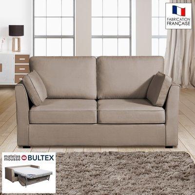 Canapé 2 places convertible matelas Bultex - 100% coton - coloris havane CHARLE