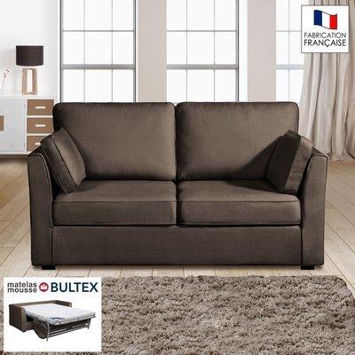 Canapé 2 places convertible matelas Bultex- 100% coton - coloris chocolat CHARL