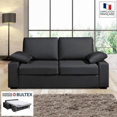 Canapé 2 places convertible matelas Bultex - 100% coton - coloris anthracite PL