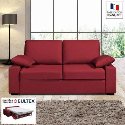 Canapé 2 places convertible matelas Bultex - 100% coton - coloris griotte PLUTO