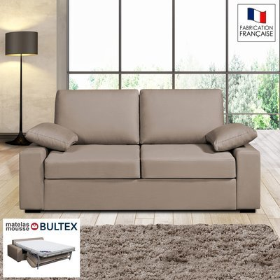 Canapé 2 places convertible matelas Bultex - 100% coton - coloris havane PLUTON