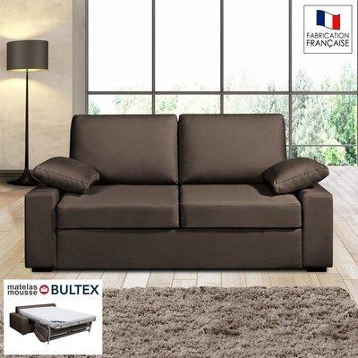 Canapé 2 places convertible matelas Bultex- 100% coton - coloris chocolat PLUTO