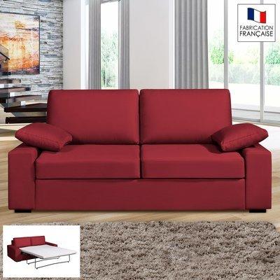 Canapé 3 places convertible 14cm coloris griotte PLUTON