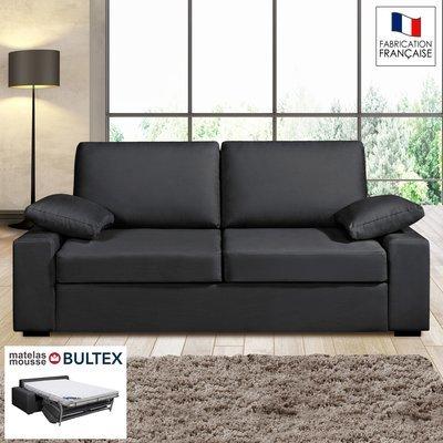 Canapé 3 places convertible matelas Bultex - 100% coton anthracite - PLUTON