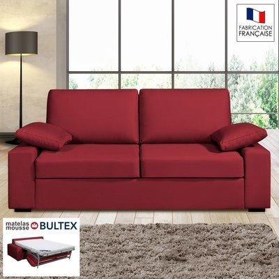 Canapé 3 places convertible matelas Bultex - 100% coton - coloris griotte PLUTO