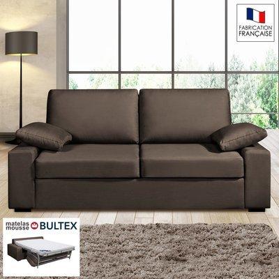 Canapé 3 places convertible matelas Bultex- 100% coton chocolat PLUTON