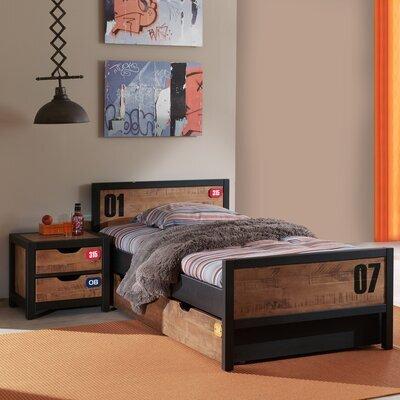 Ensemble lit 90x200 cm avec chevet et tiroir marron et noir - BORY