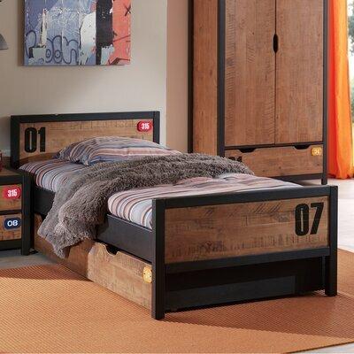 Ensemble lit 90x200 cm et tiroir marron et noir - BORY