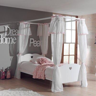 Lit à baldaquin 90x200 cm avec rideau blanc - AMORENA