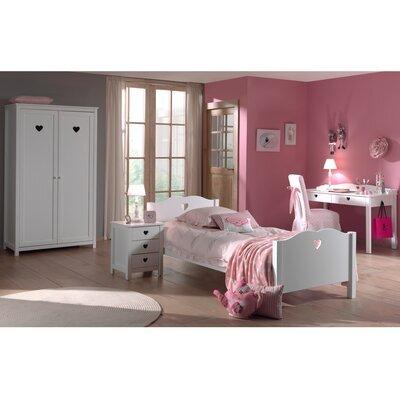 Ensemble lit 90x200 cm, chevet, armoire 2 portes et bureau blanc - AMORENA