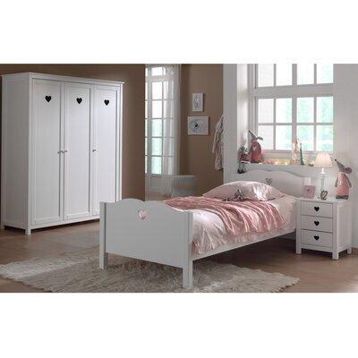 Ensemble lit 90x200 cm avec chevet et armoire 3 portes blanc - AMORENA