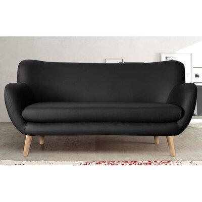 Canapé 3 places en PU noir, pieds hêtre - ALPHA