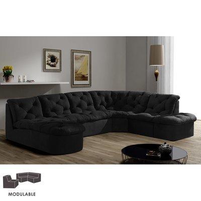 Canapé modulable en microfibre noir