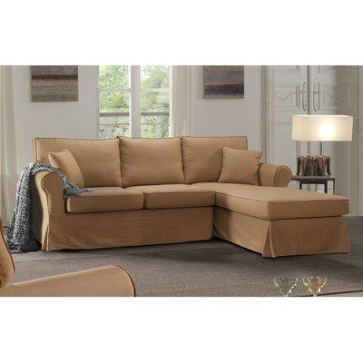 Canapé d'angle à droite fixe en tissu camel - JAIPUR