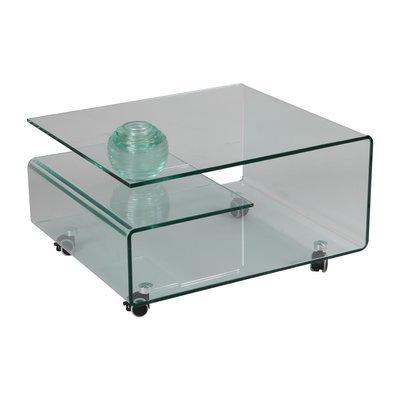 Table basse rectangulaire à roulettes en verre trempé - GLASS