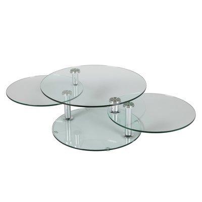 Table basse 3 plateaux ovales en verre trempé - GLASS