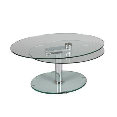 Table basse 2 plateaux ovales en verre trempé - GLASS