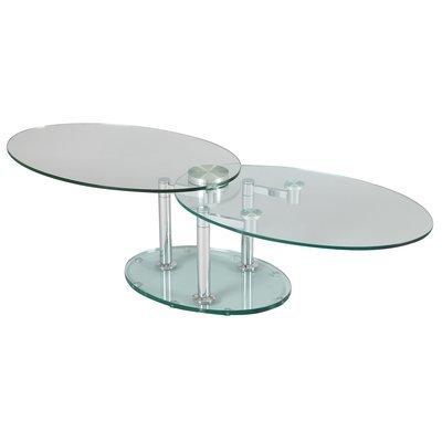 Table basse 2 plateaux ovales en verre trempé transparent - GLASS