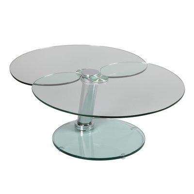 Table basse 2 plateaux demi-lune en verre trempé - GLASS
