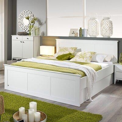 Lit en 180x200 cm et lot de 2 tiroirs charme blanc - ROSAMLA
