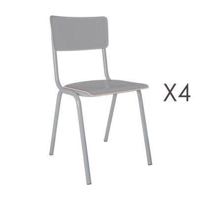 Lot de 4 chaises écolier grises - BACK TO SCHOOL