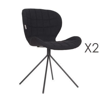 Lot de 2 chaises vintage en tissu noir - OMG