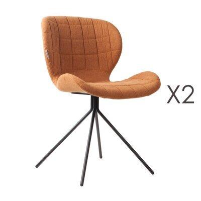 Lot de 2 chaises vintage en tissu camel - OMG