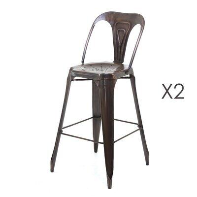 Lot de 2 Chaises de bar cuivre vieilli - TALY