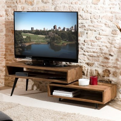 Meuble TV rotatif APPOLINE  - teck foncé