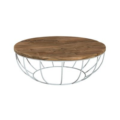 Table basse coque blanche 100x100 cm APPOLINE  - teck foncé