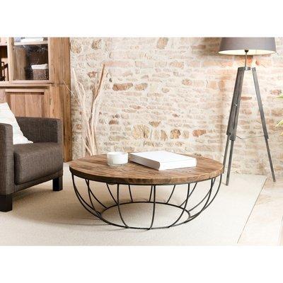 Table basse coque noire 100x100 cm APPOLINE  - teck foncé