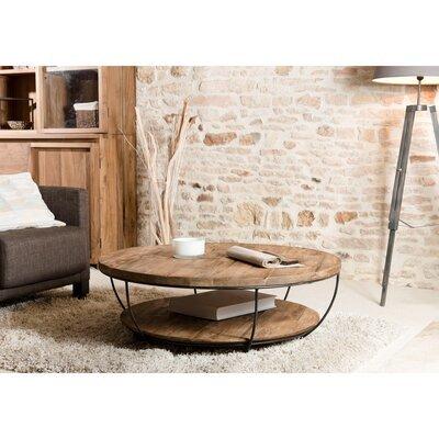 Table basse coque noire double plateau  100x100 cm APPOLINE  - teck foncé