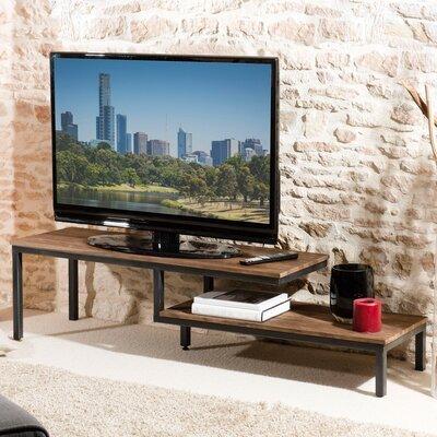 Meuble TV 2 tablettes bois et métal APPOLINE  - teck foncé