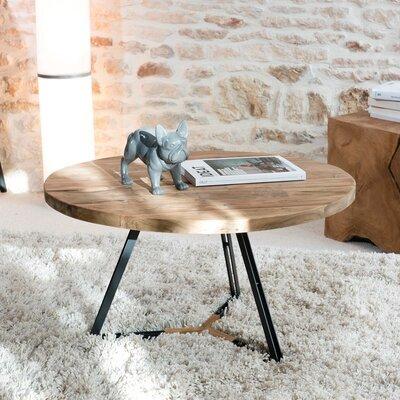 Table basse ronde pieds noirs 75x75 cm en teck recyclé - APPOLINE