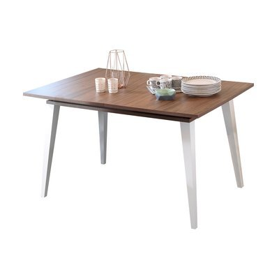 Table à manger avec 1 allonge en noyer et blanc - STORAN