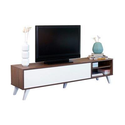 Meuble tv pieds inclinés 1 abattant noyer et blanc - STORAN