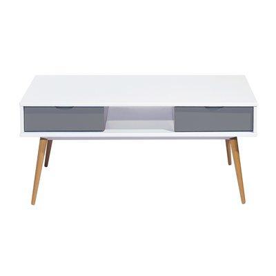 Table basse  2 tiroirs - blanc et gris