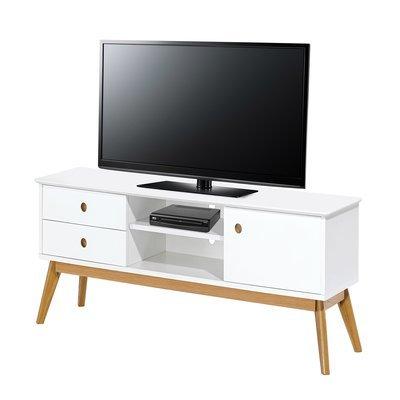 Meuble TV  en chene 1 porte - blanc