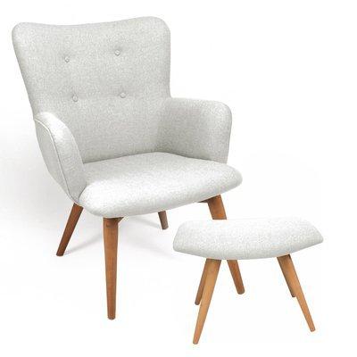 Sofa et repose-pieds gris clair - BALTIC