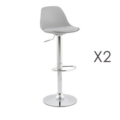Lot de 2 tabourets de bar design 39x42x104cm GRIS - SUK