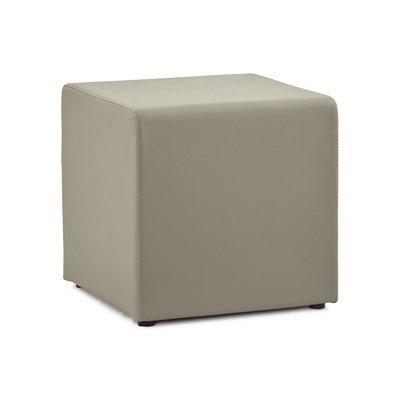 Pouf cube en simili cuir gris - RABIK