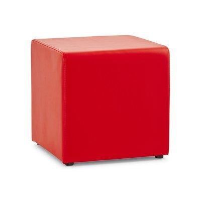 Pouf cube en PU rouge - RABIK