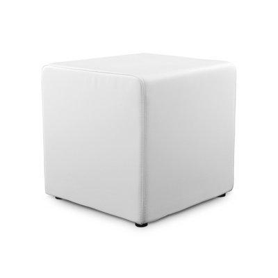 Pouf cube en PU blanc - RABIK