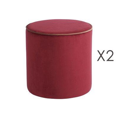 lot de 2 poufs countra violet cerise diam40xh40cm maison et styles. Black Bedroom Furniture Sets. Home Design Ideas