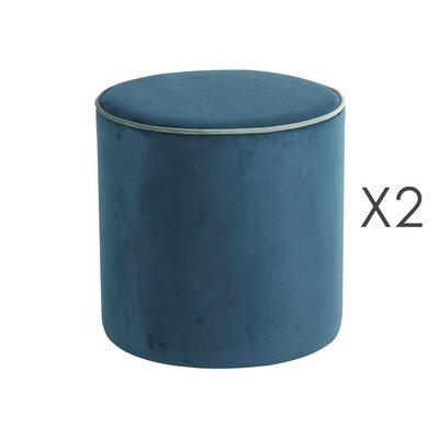 Lot de 2 poufs Countra Canard/Vert De Gris Diam40xH40cm