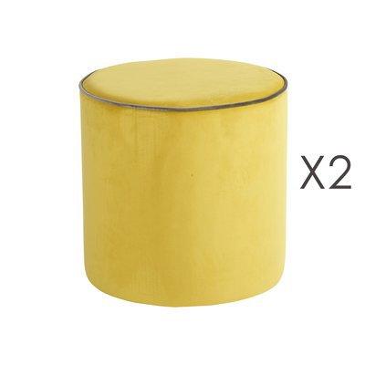 Lot de 2 poufs Countra Citron/Taupe Diam40xH40cm