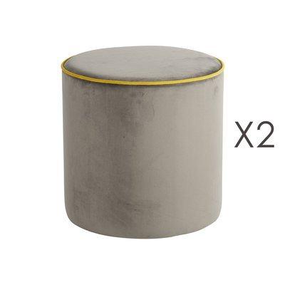 Lot de 2 poufs Countra Taupe/Citron Diam40xH40cm